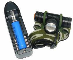 Фонарь аккумуляторный налобный KSK Linza/Zoom/3реж (acc_3.7V)+з/у(TT-j30/6600)чехол