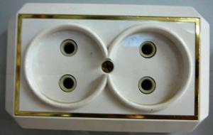 Розетка сетевая двойная откр пр позол (399)
